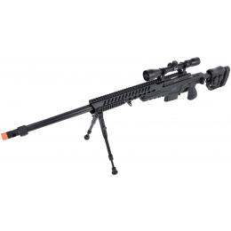 WellFire MB4418-2 Bolt Action Airsoft Sniper Rifle w/ Scope & Bipod - BLACK
