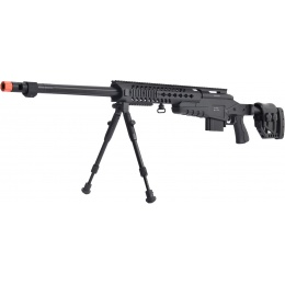 WellFire MB4418-2 Bolt Action Airsoft Sniper Rifle w/ Bipod - BLACK