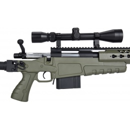WellFire MB4418-2 Bolt Action Airsoft Sniper Rifle w/ Scope & Bipod - OD GREEN