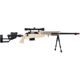 WellFire MB4418-2 Bolt Action Airsoft Sniper Rifle w/ Scope & Bipod - TAN
