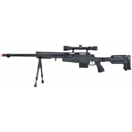 WellFire MB4418-3 Bolt Action Airsoft Sniper Rifle w/ Scope & Bipod - BLACK
