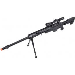 WellFire MB4418-3 Bolt Action Airsoft Sniper Rifle w/ Scope & Bipod - BLACK