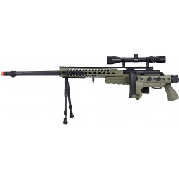 WellFire MB4418-3 Bolt Action Airsoft Sniper Rifle w/ Scope & Bipod - OD GREEN