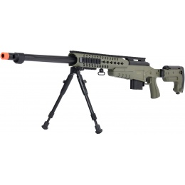 WellFire MB4418-3 Bolt Action Airsoft Sniper Rifle w/ Bipod - OD GREEN