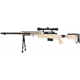 WellFire MB4418-3 Bolt Action Airsoft Sniper Rifle w/ Scope & Bipod - TAN