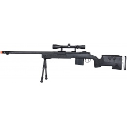 WellFire MB4417 M40A3 Bolt Action Airsoft Sniper Rifle w/ Scope & Bipod - BLACK