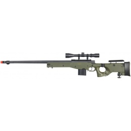WellFire Airsoft L96 AWP BOLT Action Rifle w/ Fluted Barrel, Duplex Scope - OD