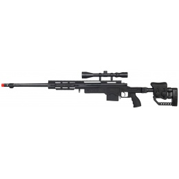 WellFire Airsoft Bolt Action Rifle w/ Fluted Barrel & Scope - BLACK