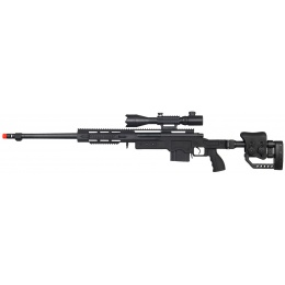 WellFire Airsoft Bolt Action Rifle w/ Fluted Barrel & Illuminated Scope - BLACK