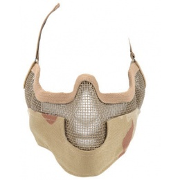 Black Bear Airsoft Steel Mesh Padded Lower Face Mask - DESERT