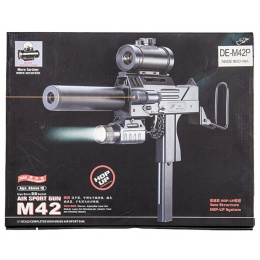 Double Eagle M42P Spring Powered Mac 11 Uzi with Suppressor, Flashlight/Laser, and Red Dot Sight - BLACK