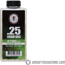 G&G 6mm Competition Grade 0.25g Airsoft Tracer BBs [2700 Round Bottle] - GREEN