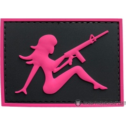 G-Force Mudflap Girl w/ Rifle PVC (Left) Patch - BLACK/PINK