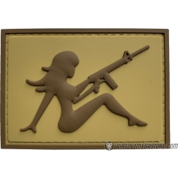 G-Force Mudflap Girl w/ Rifle PVC (Left) Patch - TAN/BROWN