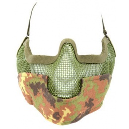 Black Bear Airsoft Steel Mesh Padded Lower Face Mask - VEGETATION
