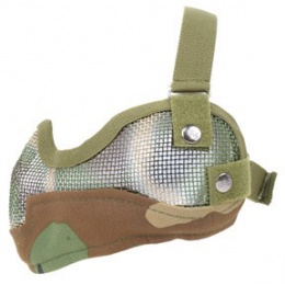 Black Bear Airsoft Steel Mesh Padded Lower Face Mask - WOODLAND