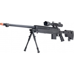 WellFire MB4407 Bolt Action Airsoft Sniper Rifle w/ Scope & Bipod - Black