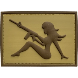 G-Force Mudflap Girl w/ Rifle PVC (Right) Patch - TAN BROWN
