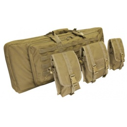 Condor Outdoor 46in Double Rifle Case w/ MOLLE Mag Pouches - TAN