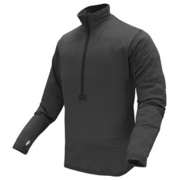 Condor Outdoor Airsoft Tactical Zip Long Sleeve Fleece Shirt - BLACK