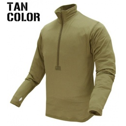 Condor Outdoor Airsoft BASE II Zip Long Sleeve Fleece Shirt - TAN