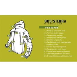 Condor Outdoor Tactical SIERRA Hooded Fleece Jacket #605 - TAN