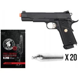 New Year Bundle: Double Bell 1911 MEU CO2 Pistol + 20X CO2 Cartridges + 4000rd 0.20g BBs