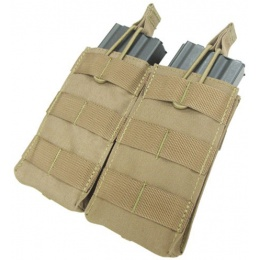 Condor Outdoor Tactical MOLLE Open-Top Double M4 Magazine Pouch - TAN