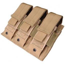 Condor Outdoor Tactical MOLLE Triple Pistol Magazine Pouch - TAN