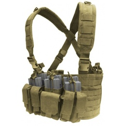 Condor Outdoor Modular MOLLE Recon Chest Rig w/ Magazine Pouches - TAN