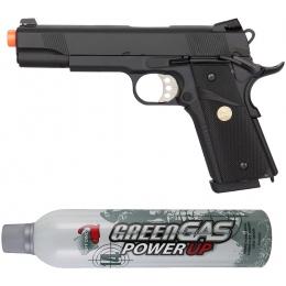 Airsoft Mega Bundle: Double Bell 1911 MEU GBB Pistol + Puff Dino Green Gas Can