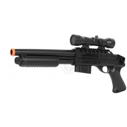 DE Airsoft Tactical Sawed-Off Pump Action Shotgun w/ Accessory Scope