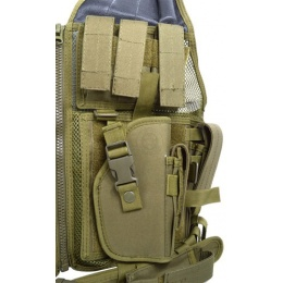 AMA Airsoft V2 Cross-Draw Military Vest w/ Tactical Belt - OD GREEN