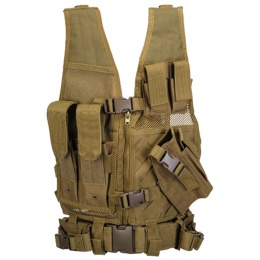 Lancer Tactical Airsoft Cross Draw Vest Youth Size w/ Holster - KHAKI
