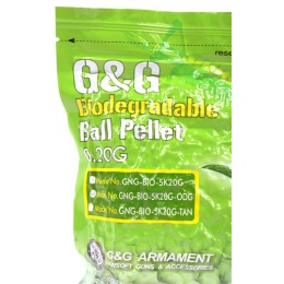0.20g G&G Biodegradable 6mm Airsoft BBs - 5000rd Bag - OLIVE DRAB
