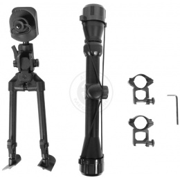 AGM 3-9x32 Full Metal Airsoft Rifle Scope Bipod Package w/ Mounts
