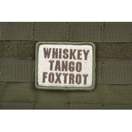 AMS Airsoft Premium Whiskey Tango Foxtrot Patch - OD GREEN