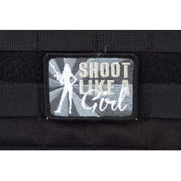AMS Airsoft Shoot Like A Girl Patch - BLACK/ SWAT
