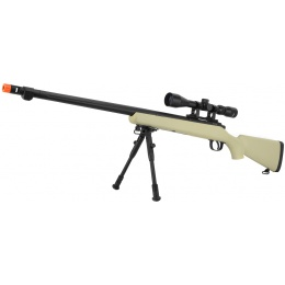 WellFire VSR-10 Bolt Action Airsoft Sniper Rifle - Scope + Bipod - TAN
