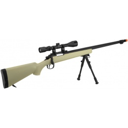WellFire VSR-10 Bolt Action Airsoft Sniper Rifle - Scope + Bipod - TAN
