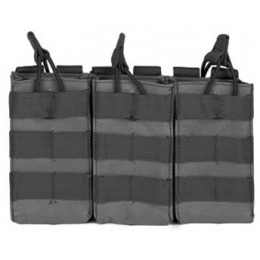 VISM MOLLE Triple M4/M16 Rifle Mag Pouch w/ Retention Straps - BLACK