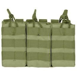 VISM MOLLE Triple M4/M16 Rifle Mag Pouch w/ Retention Straps - OD