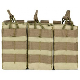 VISM MOLLE Triple M4/M16 Rifle Mag Pouch w/ Retention Straps - TAN