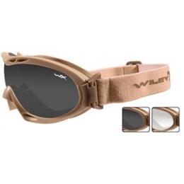 Wiley X Nerve Tactical Ballistic Goggles - w/ 2 x Lenses - TAN