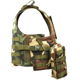 AMA MOLLE Modular Plate Carrier w/ 6 Pouches - WOODLAND