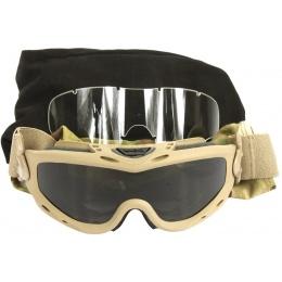 Wiley X Spear Ballistic Airsoft Goggles - w/ 2X Lenses - TAN