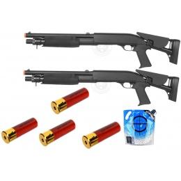 Field Ready Kit: 2x Double Eagle M3 CQB Airsoft Shotguns w/ 4 Shells