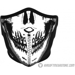 ZAN Headgear Airsoft Neoprene Skull Lower Face Mask - BLACK & White