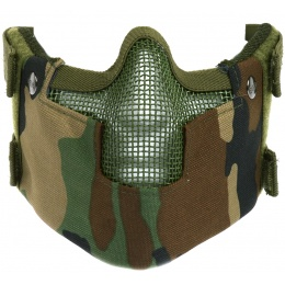 Black Bear RAVEN Steel Mesh Padded Airsoft Face Mask - WOODLAND