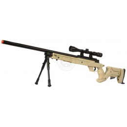 WellFire SR22 Bolt Action Type 22 Sniper Rifle w/ Scope + Bipod - TAN
